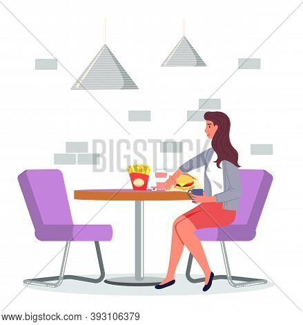 Young Woman Sitting At Table In Cafe And Eating French Fries, Burger, Drinking Tea Or Coffee. Lady W