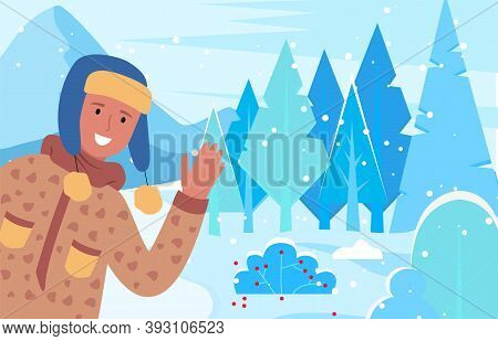 Man Smile And Greet Winter Holidays. Person Walking On Pathway In Snowy Wood Alone. Guy Dressed In W