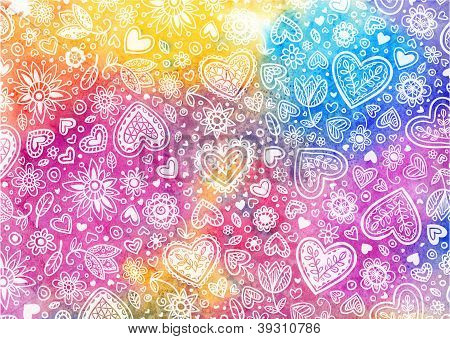 Watercolor hand painted background with hearts