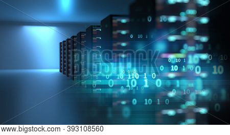 Abstract Technology Background. Blue Future Technology, Innovation, Cyber Space Background. Hi-tech