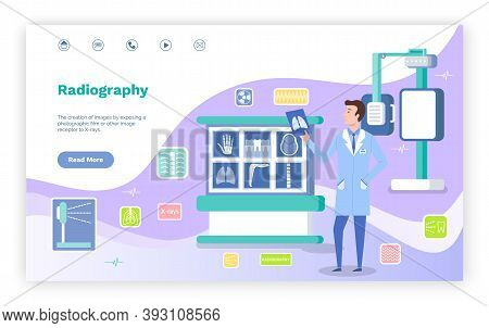 Concept Of Landing Page Of Medical Website. Magnetic Resonance Imaging Concept. Doctor Looking At Sc