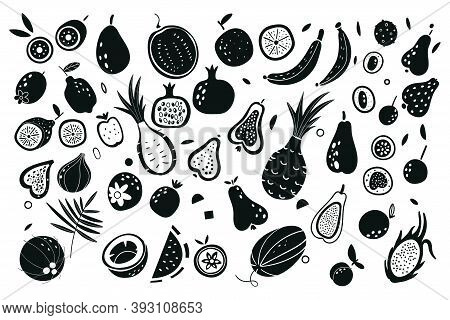 Fruit And Vegetables Silhouettes. Vector Illustration. Exotic Fruits. Print For Bags, Labels For Sto