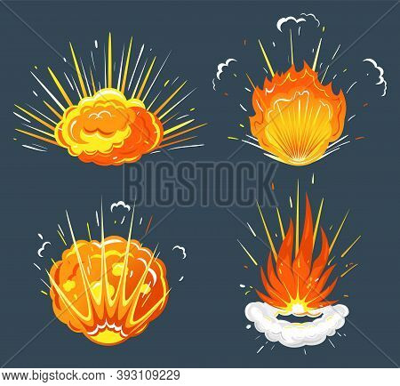 Cartoon Explosion, Exploding Bomb, Atomic Explode Effect And Comic Explosions Smoke Clouds. Destruct
