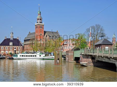 the Village of Leer at the Ems River in East Frisia,North Sea,Germany poster