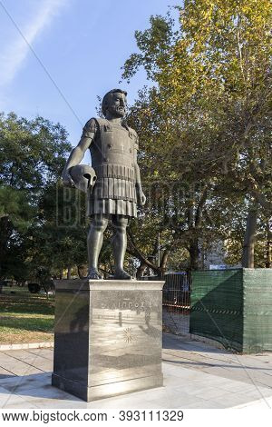 Thessaloniki, Greece - September 22, 2019: Philip Ii Macedon Monument At Embankment Of City Of Thess