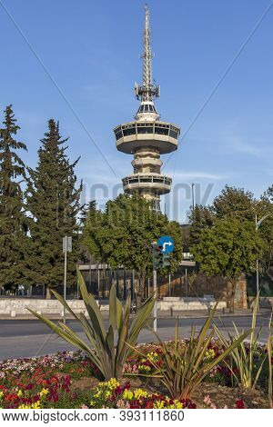 Thessaloniki, Greece - September 22, 2019: Sunset View Of Ote Tower In City Of Thessaloniki, Central