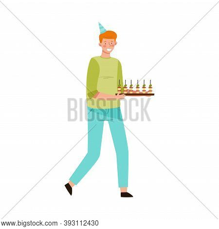 Young Man In Birthday Hat Carrying Snacks And Appetizers Vector Illustration