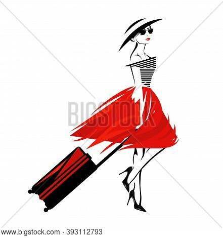 Vector Portrait Of Elegant Young Woman Wearing High Heels, Hat And Sunglasses With Luggage Ready For