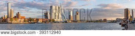 Rotterdam, Netherlands - April 26, 2019 : Downtown Rotterdam Skyline Panorama With Erasmus Bridge An