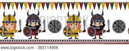 Viking Line Pattern. Full Color. Fabric, Textile Illustration