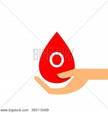 Blood Drop O Type On Hand For Icon, Clip Art Red Blood Drop, Blood O Type, Drop Blood In Hand Symbol