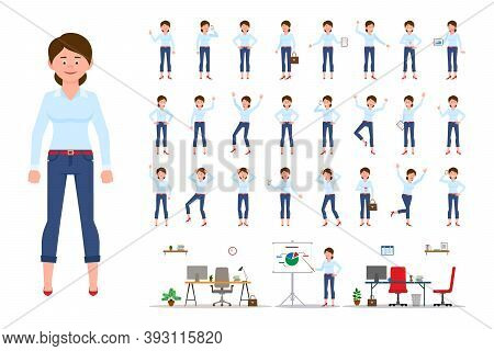 Adult Office Cartoon Character Woman In Casual Clothes Standing Front View Flat Style Design Vector