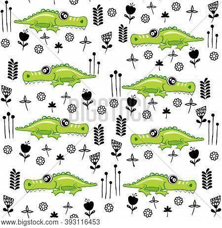 Crocodile Pattern Design With Several Alligators Wrapping Paper