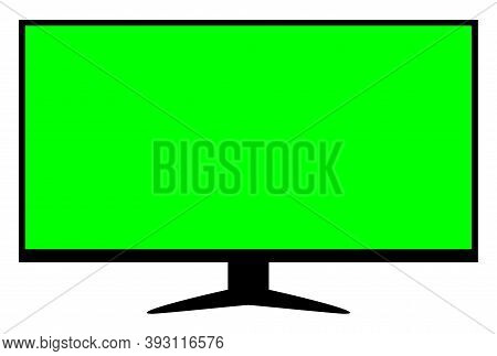 Lcd Tv Green Screen For Display Mock-up, Tv Lcd Wide With Green Screen Isolated On White, Blank Scre