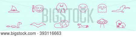 Monsters And Mystery. Modern Cartoon Icon Design Template With Various Models. Vector Illustration I