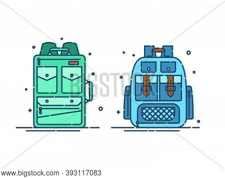 Backpack Or Schoolbag With Pockets And Zipper Element. Education And Study Rucksack For Students And