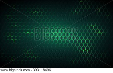Dark Green Technology Hexagonal Vector Background. Abstract Green Bright Energy Flashes Under Hexago