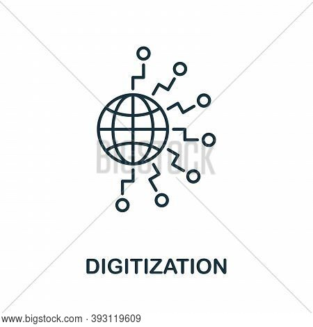 Digitization Line Icon. Simple Element From Digital Disruption Collection. Outline Digitization Icon