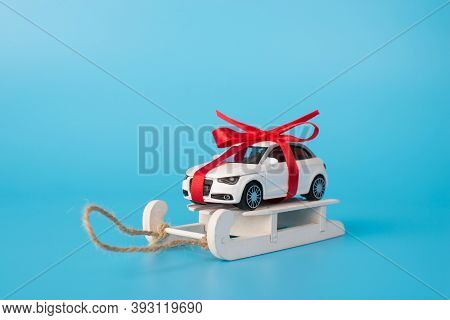 Full Length Size Close Up Photo Of Nice Modern Stylish White Color Mini Car With Bow On Roof Standin