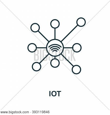 Iot Line Icon. Simple Element From Digital Disruption Collection. Outline Iot Icon Element
