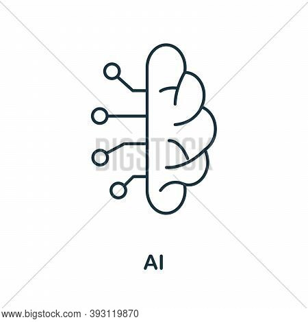 Ai Line Icon. Simple Element From Digital Disruption Collection. Outline Ai Icon Element