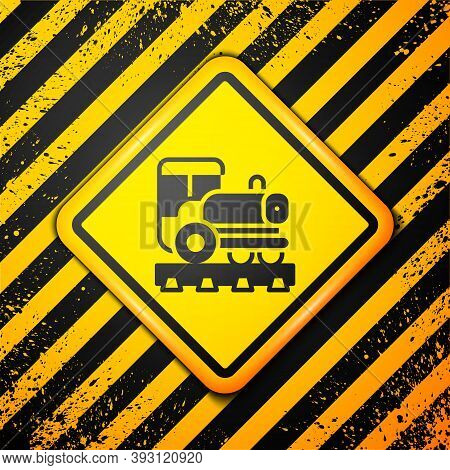 Black Vintage Locomotive Icon Isolated On Yellow Background. Steam Locomotive. Warning Sign. Vector