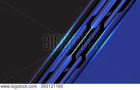 Abstract Blue Black Line Circuit Cyber Slash On Grey Blank Space Design Modern Futuristic Technology