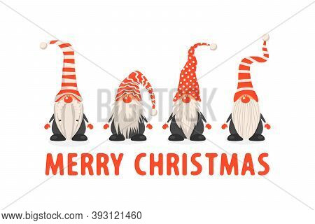 Merry Christmas Postcard. Four Vector Christmas Cute Gnomes With Red Caps In Flat Style. Dwarfs Desi