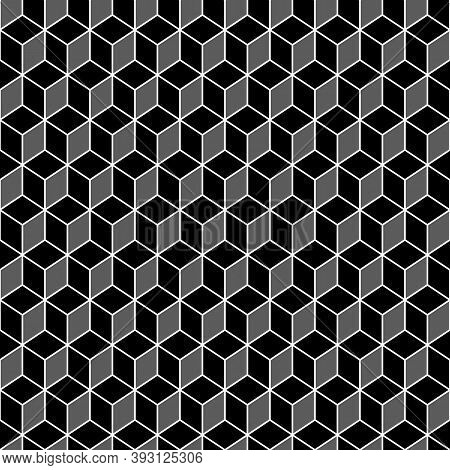Repeated Color Cubes Background. Rhombuses Tessellation Wallpaper. Seamless Surface Pattern Design W
