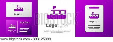 Logotype Beach Pier Dock Icon Isolated On White Background. Logo Design Template Element. Vector