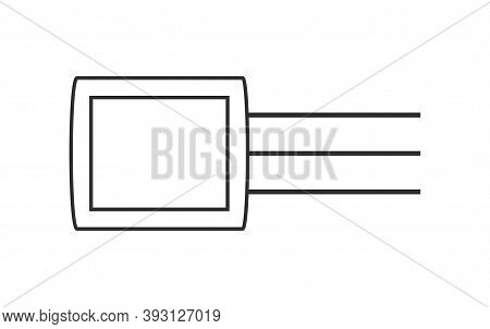 Electronic Transistors Vector Icon In Outline Style. Transistor Symbol Illustration Isolated