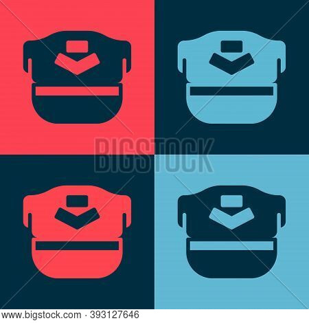 Pop Art Pilot Hat Icon Isolated On Color Background. Vector