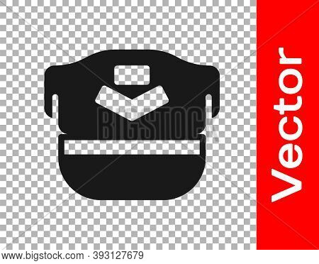 Black Pilot Hat Icon Isolated On Transparent Background. Vector