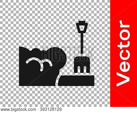 Black Shovel In Snowdrift Icon Isolated On Transparent Background. Vector