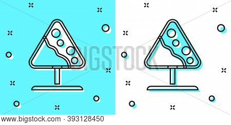 Black Line Road Sign Avalanches Icon Isolated On Green And White Background. Snowslide Or Snowslip R