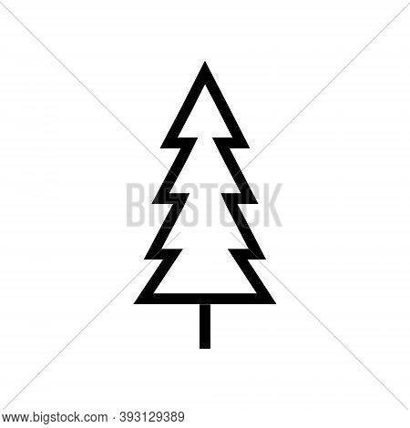 Evergreen Conifer Tree Icon In Line Design Style. Fir Or Pine Tree Sign.