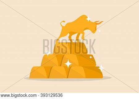 Gold Investment Bull Market, Safe Haven In Financial Crisis Concept, Shiny Bull Statue On Stack Of B