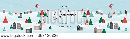 Merry Christmas And Happy New Year Banner. Modern Xmas Geometric Design With Winter Landscape With V
