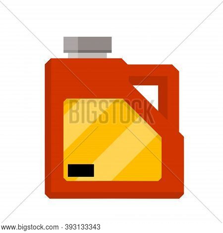 Canister With Fuel. Red Gas Tank. Container With Oil. Flammable Object. Flat Cartoon Icon Isolated O