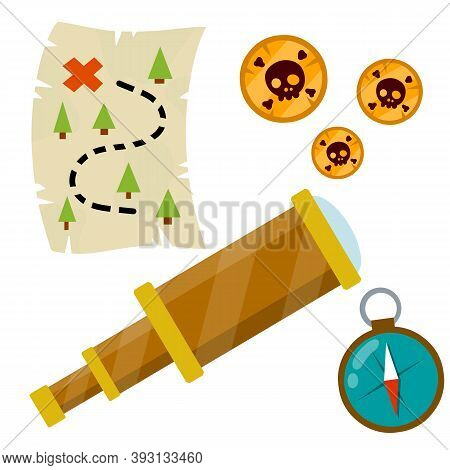 Set Of Pirate. Treasure Map And Gold Coins. Treasure And A Telescope. Compass For Navigation. Flat C