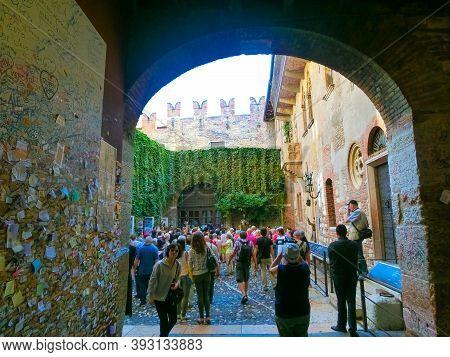 Verona, Italy - September 22, 2014: The Famous Balcony Of Romeo And Juliet In Verona, Italy