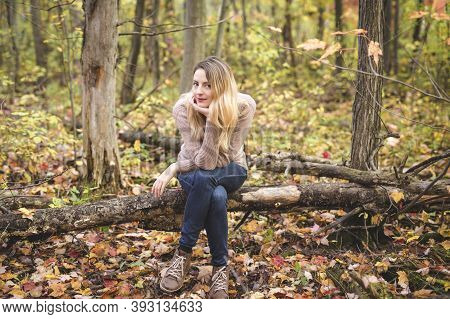 Outdoor Atmospheric Lifestyle Photo Of Young Beautiful Lady.