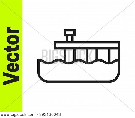 Black Line Beach Pier Dock Icon Isolated On White Background. Vector