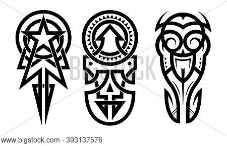 Tattoo Tribal Abstract Sleeve Set, Black Arm Shoulder Tattoo Fantasy Pattern Vector Art Design Isola