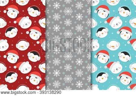 Set Of Christmas Seamless Patterns With Snowmen, Penguins And Snowflakes. Vector Illustration.