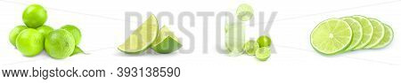 Collage Of Limes Isolated On A White Background Cutout