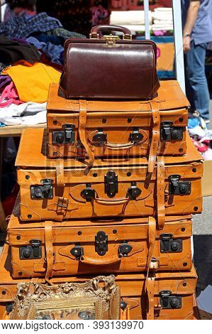 Doctors Bag And Leather Suitcases Luggage At Flea Market