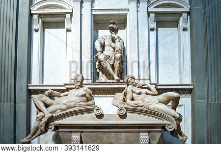 Florence, Italy - February 14, 2019. Medici Chapels, The Tomb Of Giuliano Duke Of Urbino, By Michela
