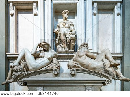 Florence, Italy - February 14, 2019. Medici Chapels, The Tomb Of Giuliano Duke Of Nemours, By Michel