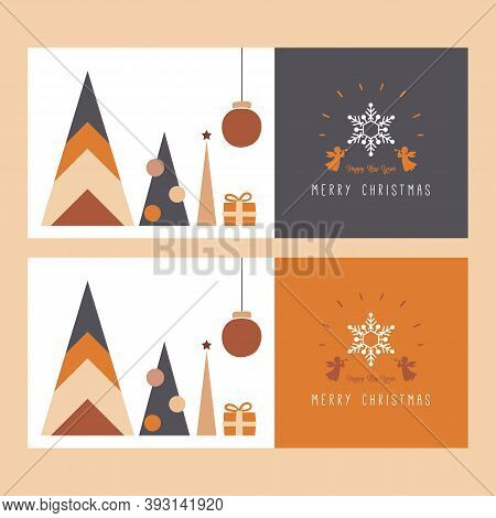 Christmas Banner Template. Christmas And Happy New Year Templates. Trendy Retro Style. Vector Design